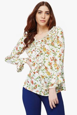 AND Off White Floral Print Ruffle Top