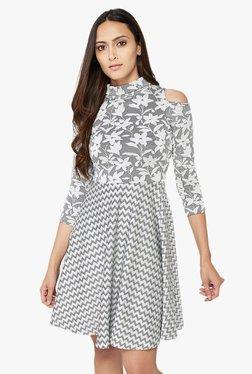 AND Grey Printed Skater Dress