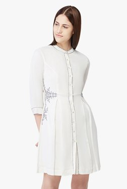 AND Off White Embroidered Shirt Dress