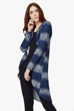 AND Blue Printed Waterfall Shrug