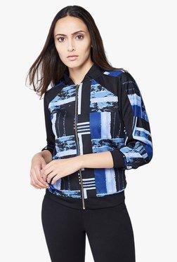 AND Blue & Black Printed Bomber Jacket
