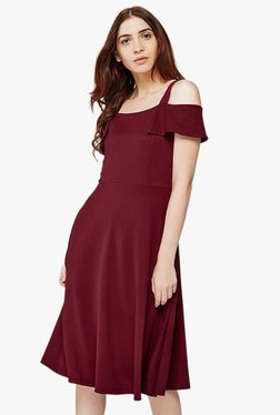 AND Burgundy Short Sleeves Skater Dress