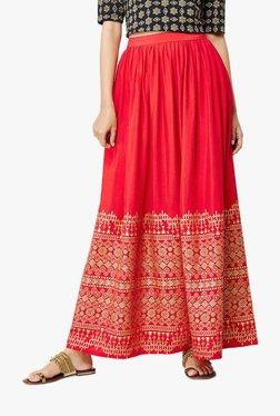 Global Desi Red Iris Foil Print Maxi Skirt