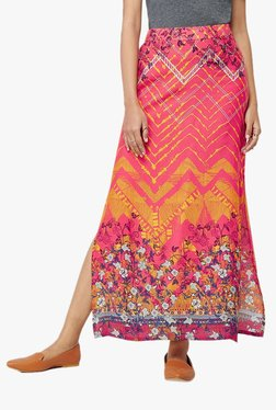Global Desi Red Printed Maxi Skirt