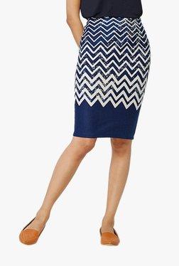 Global Desi Indigo Chevron Print Knee Length Pencil Skirt