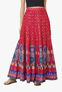 Global Desi Red Geometric Print Maxi Skirt