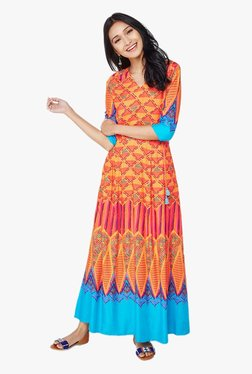 Global Desi Orange Graphic Print Maxi Dress