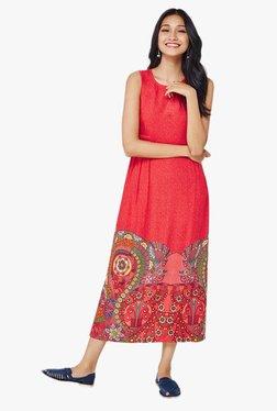 Global Desi Red Printed Midi Dress
