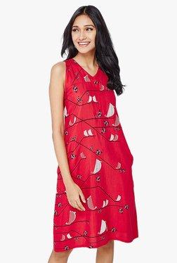 Global Desi Red Printed Knee Length Dress