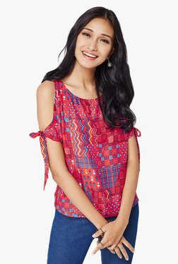 Global Desi Red Printed Cold Shoulder Top