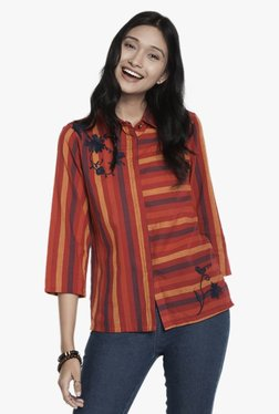 Global Desi Red Striped Button Down Top