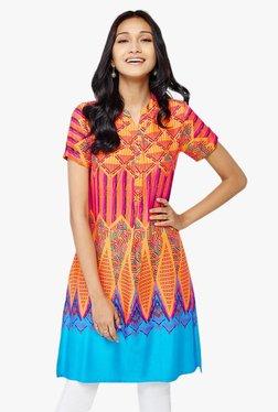 Global Desi Orange Geometric Print Tunic
