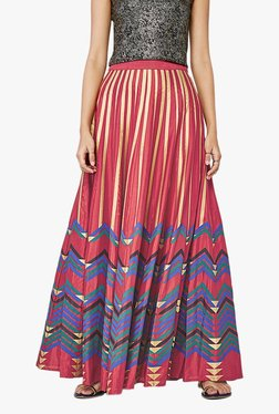 Global Desi Red Chevron Print Maxi Skirt