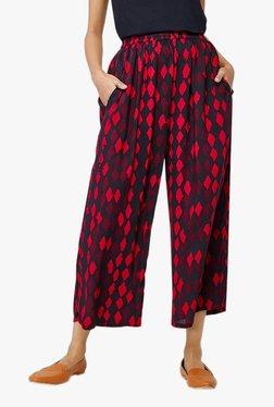 Global Desi Red Regular Fit Elasticated Pants
