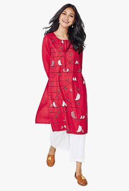 Global Desi Red Printed Kurta - Mp000000001857082