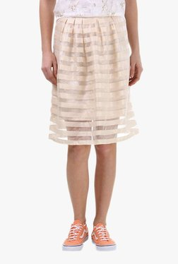 Vero Moda Beige Striped Knee Length Skirt