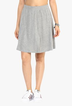 Vero Moda Grey Textured Knee Length Skirt