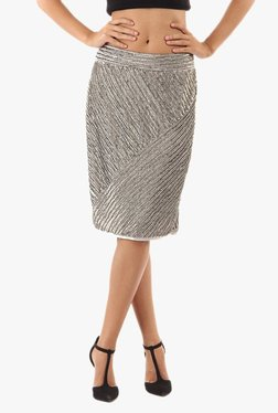 Vero Moda Silver Embellished Knee Length Skirt