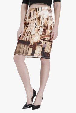 Vero Moda Brown Printed Knee Length Skirt