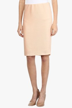 Vero Moda Peach Striped Knee Length Skirt