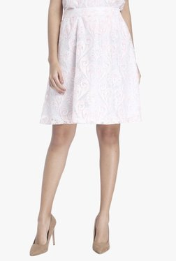 Vero Moda Pink Embroidered Knee Length Skirt