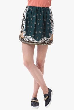 Vero Moda Green Floral Print Mini Skirt