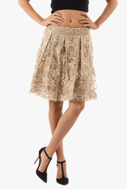 Vero Moda Beige Embroidered Knee Length Skirt