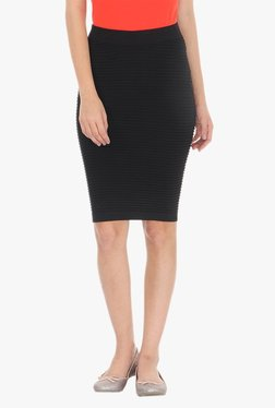 Vero Moda Black Striped Knee Length Skirt