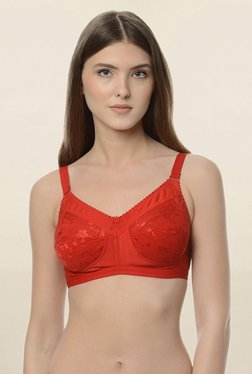 0d7300300385c Da Intimo Red Non Wired Non Padded Minimizer Bra
