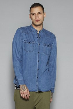 Nuon By Westside Light Blue Slim Fit Denim Shirt