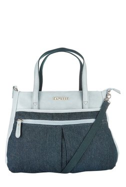 Caprese Sybil Sky Blue & Black Panelled Shoulder Bag