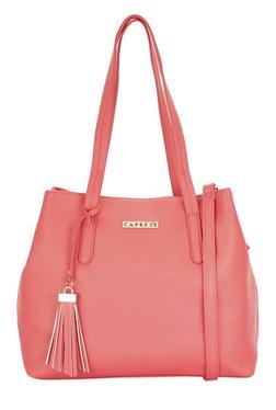 Caprese Sydney Coral Pink Solid Shoulder Bag