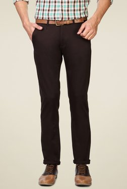 Peter England Black Skinny Fit Cotton Trousers