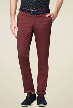 Allen Solly Maroon Cotton Slim Fit Flat Front Trousers