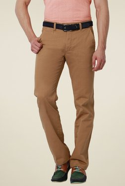 Peter England Brown Slim Fit Flat Front Cotton Trousers