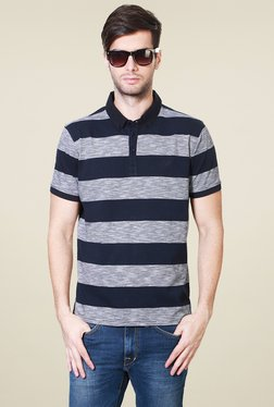 Allen Solly Navy & Grey Half Sleeves Striped Polo T-Shirt
