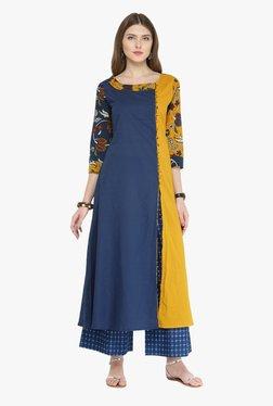 Varanga Blue Printed Cotton Kurta With Palazzo