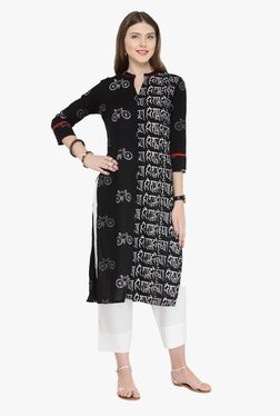Varanga Black & White Printed Cotton Kurta With Pants