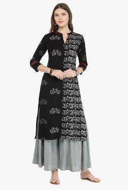 Varanga Black & Grey Printed Cotton Kurta With Palazzo