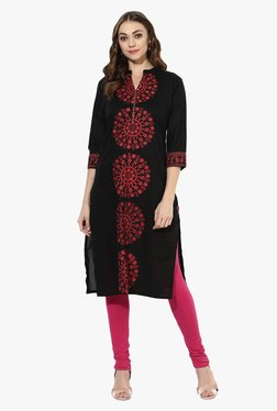 Mytri Black Printed Cotton Straight Kurta