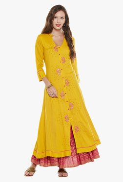 Varanga Yellow & Fuchsia Embroidered Kurta With Skirt