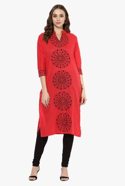 Mytri Pink Printed Cotton Straight Kurta