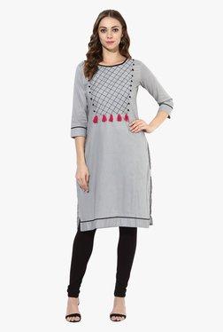 Mytri Grey Embroidered Cotton Straight Kurta
