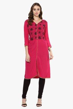 Mytri Pink Printed Rayon Straight Kurta