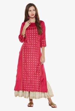 Varanga Pink & Ivory Printed Kurta With Skirt - Mp000000001871804