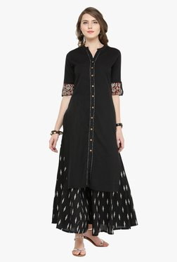 Varanga Black Cotton Kurta With Palazzo - Mp000000001871865