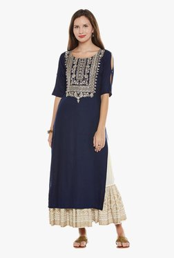 Varanga Navy & Ivory Embroidered Kurta With Skirt