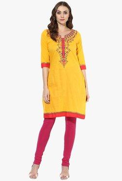 Mytri Yellow Embroidered Cotton Straight Kurta