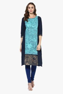 Mytri Turquoise & Navy Printed Cotton Straight Kurta