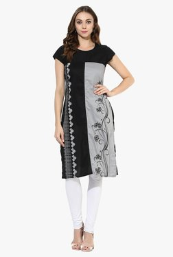Mytri Black & Grey Printed Cotton Straight Kurta